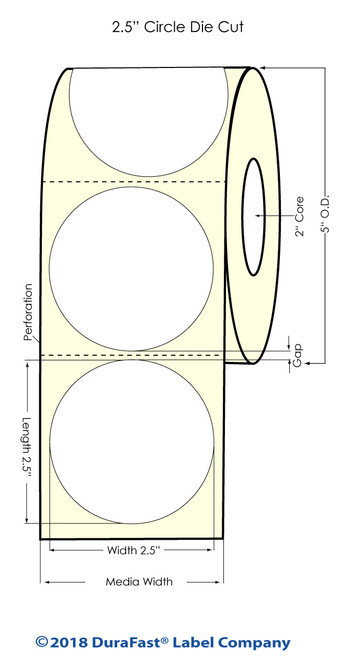 "LX500 2.5"" Circle Glossy BOPP Inkjet Labels 750/Roll"