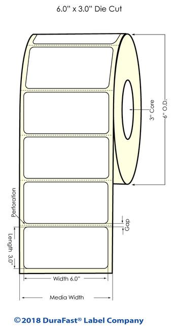 "LX900 6"" x 3"" High Gloss Paper Inkjet Labels 800/Roll"