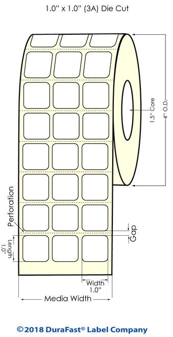 "TM-C3500 1"" x 1"" (3A) Matte Paper Inkjet Labels 3200/Roll"