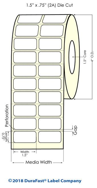 "TM-C3500 1.5"" x .75"" (2A) Matte Paper Inkjet Labels 2750/Roll"