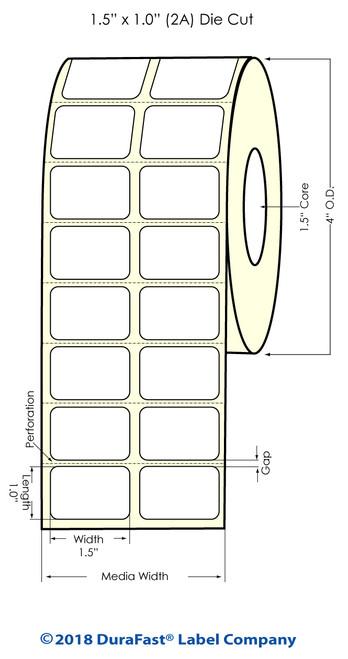 "TM-C3500 1.5"" x 1"" (2A) Matte Paper Inkjet Labels 2150/Roll"