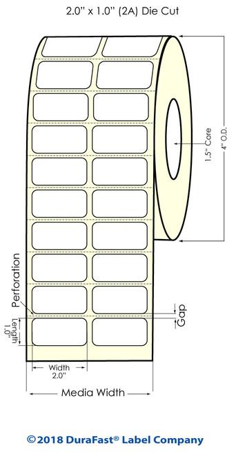 "TM-C3500 2"" x 1"" (2A) Matte Paper Inkjet Labels 2150/Roll"