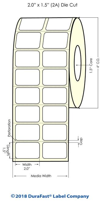 "TM-C3500 2"" x 1.5"" (2A) Matte Paper Inkjet Labels 1480/Roll"