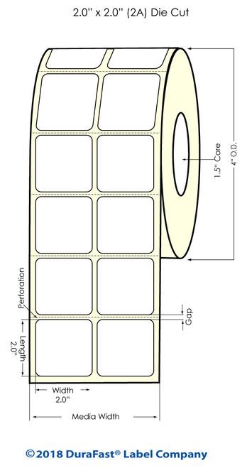 "TM-C3500 2"" x 2"" (2A) Matte Paper Inkjet Labels 1130/Roll"
