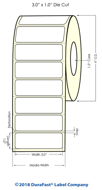 "TM-C3500 3"" x 1"" (1A) Matte Paper Inkjet Labels 1070/Roll"