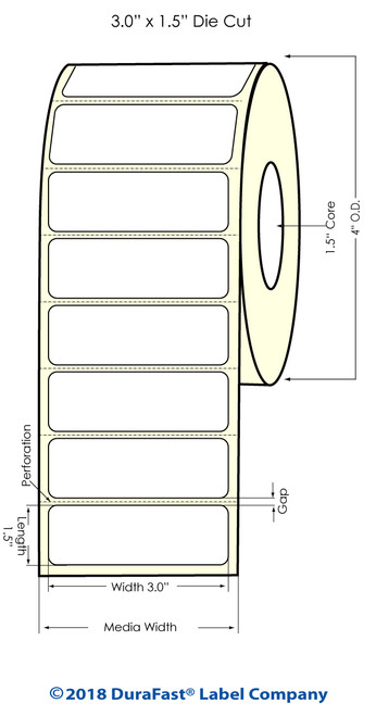 "TM-C3500 3"" x 1.5"" (1A) Matte Paper Inkjet Labels 740/Roll"