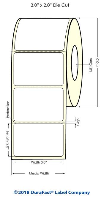 "TM-C3500 3"" x 2"" (1A) Matte Paper Inkjet Labels 565/Roll"