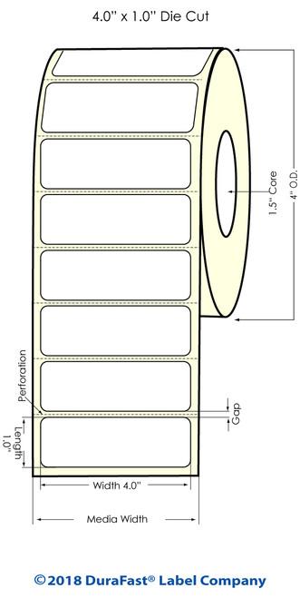 "TM-C3500 4"" x 1"" (1A) Matte Paper Inkjet Labels 1070/Roll"