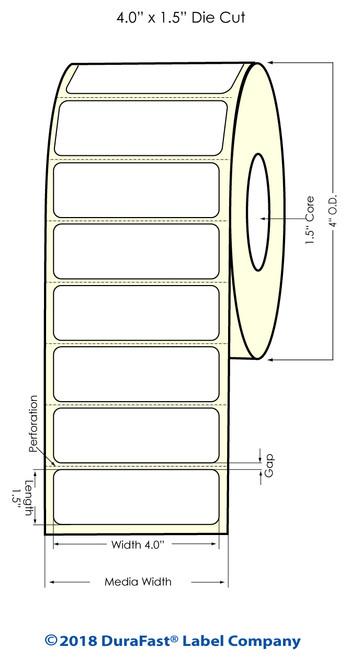 "TM-C3500 4"" x 1.5"" (1A) Matte Paper Inkjet Labels 730/Roll"