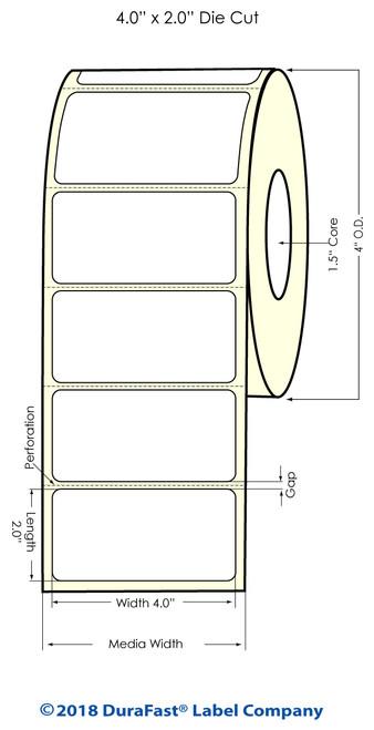 "TM-C3500 4"" x 2"" (1A) Matte Paper Inkjet Labels 560/Roll"