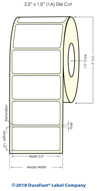 "TM-C3500 2"" x 1"" (2A) Matte Paper Inkjet Labels 1070/Roll"