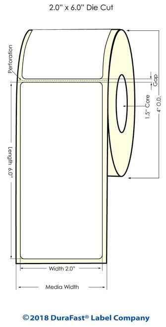 "TM-C3500 2"" x 6"" (1A) Matte Paper Inkjet Labels 190/Roll"