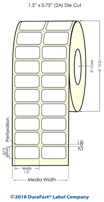 "TM-C3500 1.5"" x .75"" (2A) High Gloss Paper Inkjet Labels 2750/Roll"
