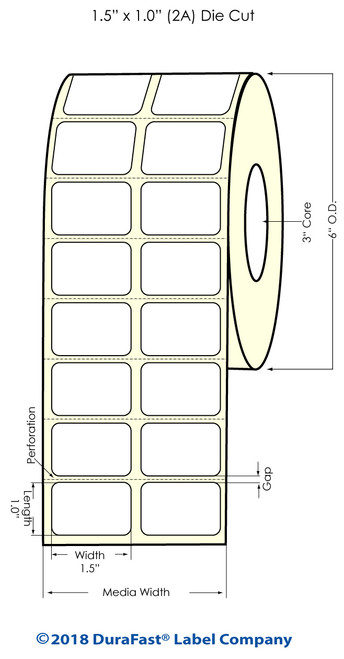 "TM-C3500 1.5"" x 1"" (2A) High Gloss Paper Inkjet Labels 2150/Roll"