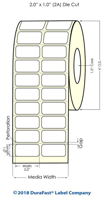 "TM-C3500 2"" x 1"" (2A) High Gloss Paper Inkjet Labels 2150/Roll"