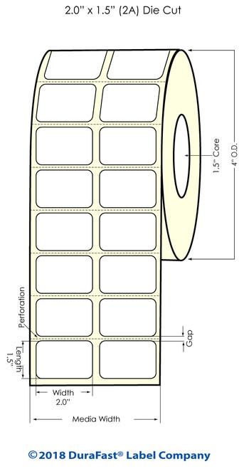 "TM-C3500 2"" x 1.5"" (2A) High Gloss Paper Inkjet Labels 1480/Roll"
