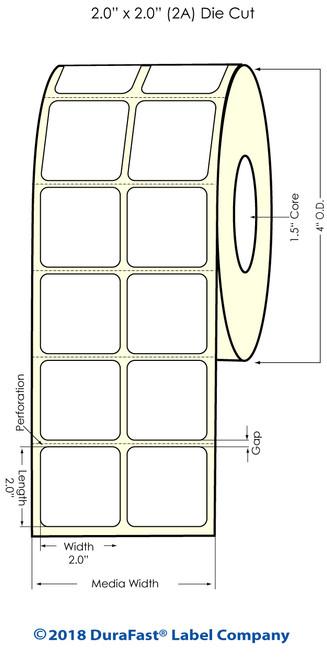 "TM-C3500 2"" x 2"" (2A) High Gloss Paper Inkjet Labels 1130/Roll"