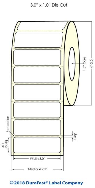"TM-C3500 3"" x 1"" (1A) High Gloss Paper Inkjet Labels 1070/Roll"