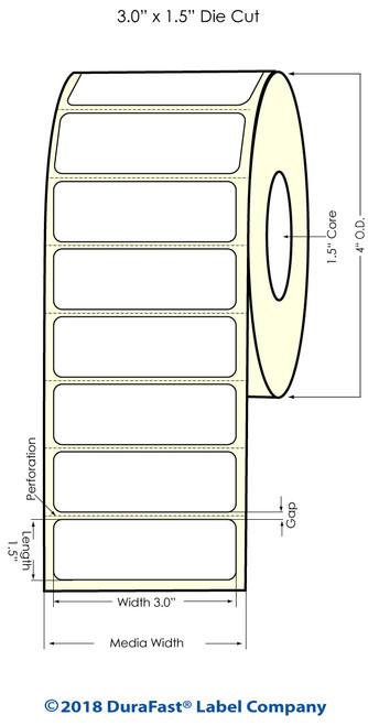 "TM-C3500 3"" x 1.5"" (1A) High Gloss Paper Inkjet Labels 740/Roll"