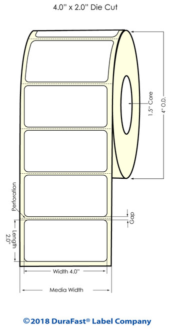 "TM-C3500 4"" x 2"" (1A) High Gloss Paper Inkjet Labels 560/Roll"