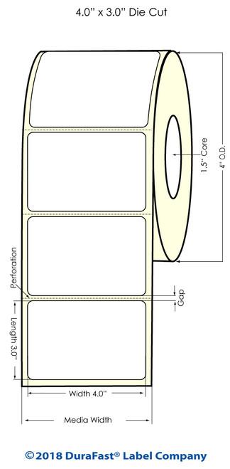 "TM-C3500 4"" x 3"" (1A) High Gloss Paper Inkjet Labels 380/Roll"