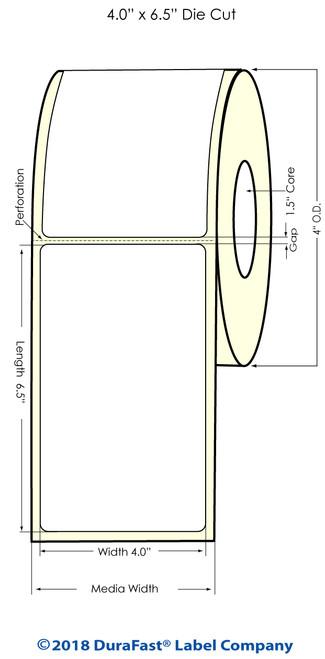 "TM-C3500 4"" x 6.5"" (1A) High Gloss Paper Inkjet Labels 180/Roll"