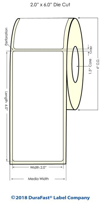 "TM-C3500 2"" x 6"" (1A) High Gloss Paper Inkjet Labels 190/Roll"