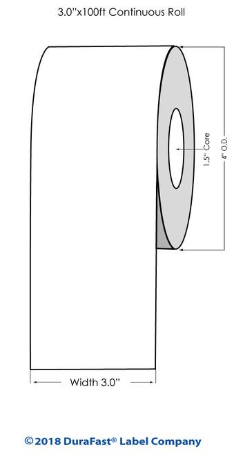 """TM-C3500 3"""" x 100 ft High Gloss Tag Roll"""