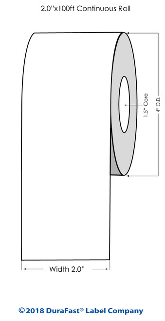 """TM-C3500 2"""" x 100 ft High Gloss Tag Roll"""