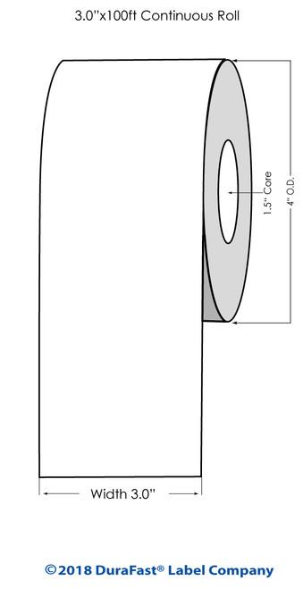 "TM-C3500 3"" x 100 ft Matte Tag Roll"