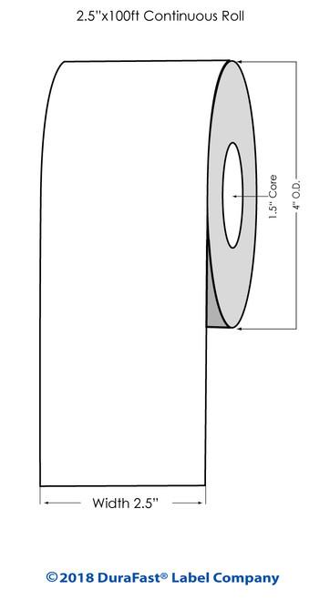 "TM-C3500 2.5"" x 100 ft Matte Tag Roll"