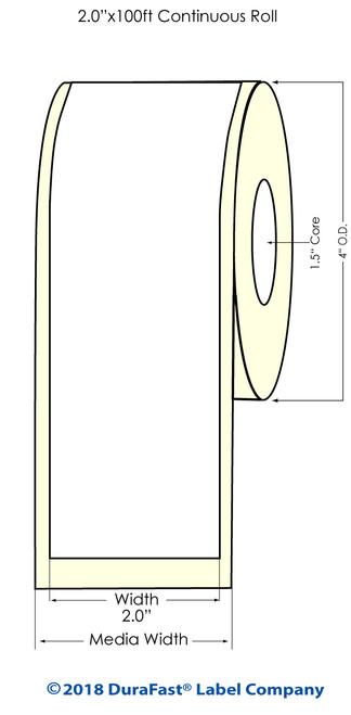 """TM-C3500 2"""" x 100 ft Matte BOPP Inkjet Labels Roll"""