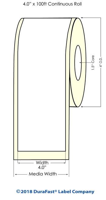 """TM-C3500 4"""" x 100 ft Matte BOPP Inkjet Labels Roll"""