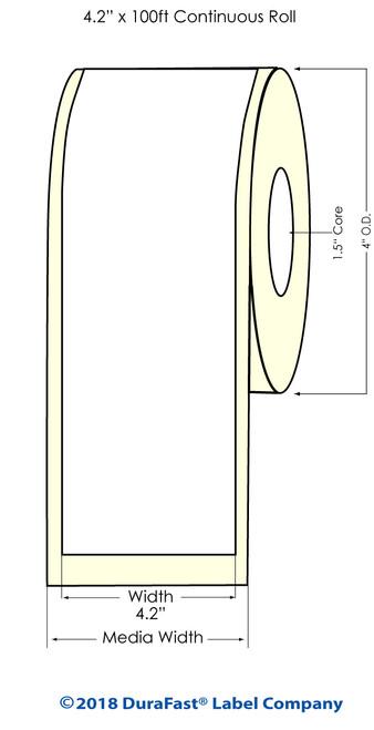 """TM-C3500 4.2"""" x 100 ft Matte BOPP Inkjet Labels Roll"""