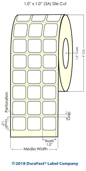 """TM-C3500 1"""" x 1"""" (3A) Matte BOPP Inkjet Labels 3200/Roll"""