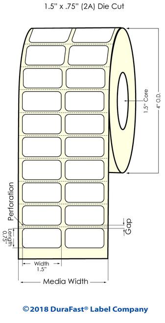 """TM-C3500 1.5"""" x .75"""" (2A) Matte BOPP Inkjet Labels 2750/Roll"""