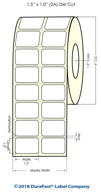 """TM-C3500 1.5"""" x 1"""" (2A) Matte BOPP Inkjet Labels 2150/Roll"""
