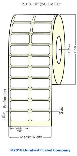 """TM-C3500 2"""" x 1"""" (2A) Matte BOPP Inkjet Labels 2150/Roll"""