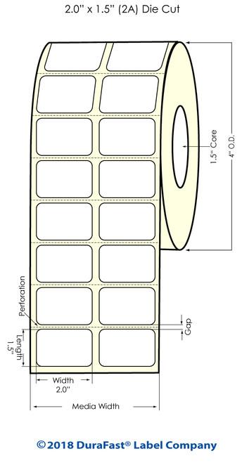 """TM-C3500 2"""" x 1.5"""" (2A) Matte BOPP Inkjet Labels 1480/Roll"""