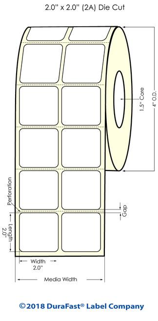 """TM-C3500 2"""" x 2"""" (2A) Matte BOPP Inkjet Labels 1130/Roll"""