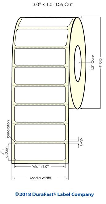 """TM-C3500 3"""" x 1"""" (1A) Matte BOPP Inkjet Labels 1070/Roll"""