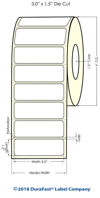 """TM-C3500 3"""" x 1.5"""" (1A) Matte BOPP Inkjet Labels 740/Roll"""