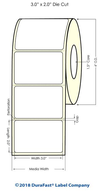 """TM-C3500 3"""" x 2"""" (1A) Matte BOPP Inkjet Labels 565/Roll"""