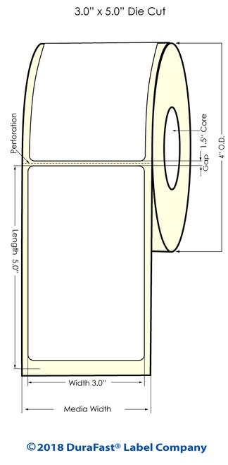 """TM-C3500 3"""" x 5"""" (1A) Matte BOPP Inkjet Labels 230/Roll"""