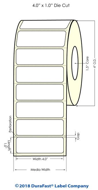 """TM-C3500 4""""x 1"""" (1A) Matte BOPP Inkjet Labels 1070/Roll"""
