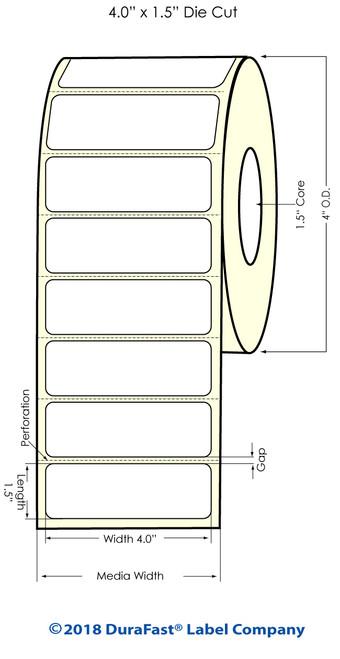 """TM-C3500 4"""" x 1.5"""" (1A) Matte BOPP Inkjet Labels 730/Roll"""