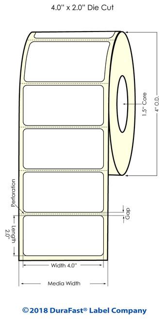 """TM-C3500 4"""" x 2"""" (1A) Matte BOPP Inkjet Labels 560/Roll"""