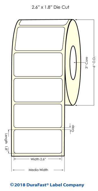 "LX900 2.6"" x 1.18"" NP High Gloss Paper Inkjet Labels 2000/Roll"