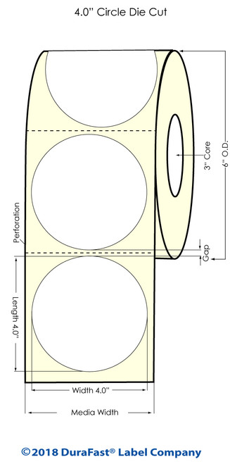 "TM-C3500 4"" Circle (1A) High Gloss Paper Inkjet Labels 290/Roll"