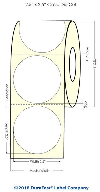 "TM-C3500 2.5"" Circle (1A) High Gloss Paper Inkjet Labels 450/Roll"